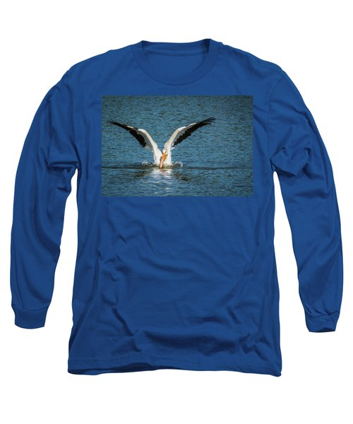 White American Pelican Long Sleeve T-Shirt by Pamela Williams