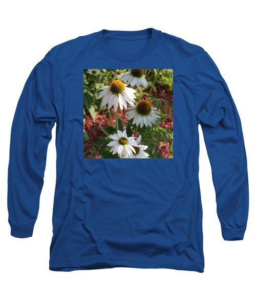White Echinacea In Pastel Long Sleeve T-Shirt by Suzanne Gaff