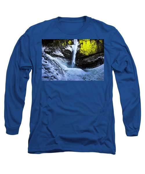 Winter At Latourell Falls Long Sleeve T-Shirt