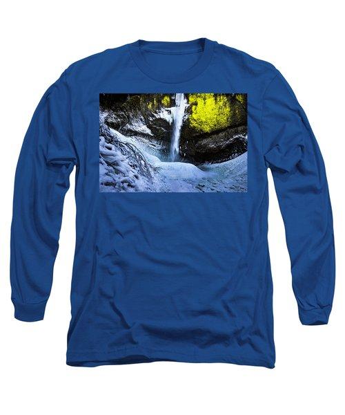 Winter At Latourell Falls Long Sleeve T-Shirt