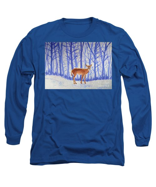 Long Sleeve T-Shirt featuring the painting Winter Begins by Li Newton