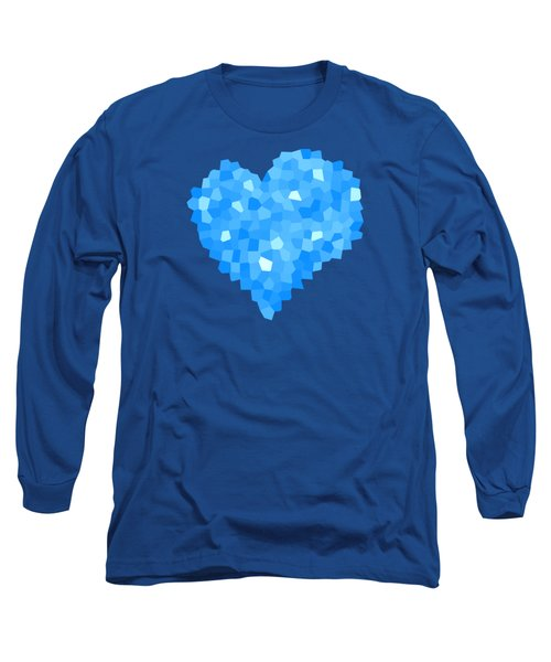 Winter Blue Crystal Heart Long Sleeve T-Shirt