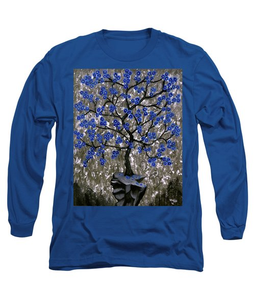Long Sleeve T-Shirt featuring the painting Winter Blues by Teresa Wing