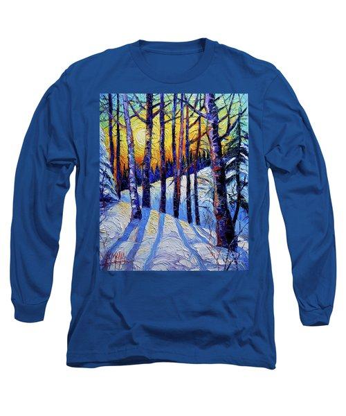 Winter Woodland Sunset Modern Impressionism Palette Knife Oil Painting Long Sleeve T-Shirt