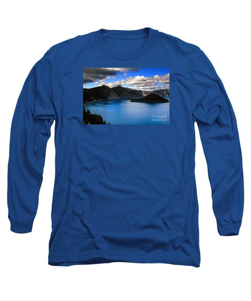 Wizard Island Stormy Sky- Crater Lake Long Sleeve T-Shirt