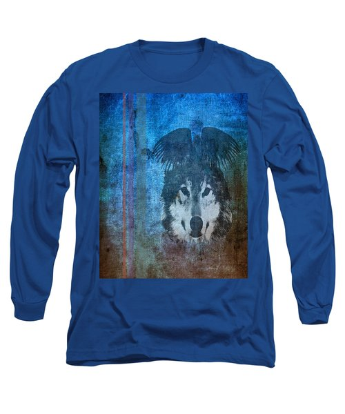 Wolf And Raven Long Sleeve T-Shirt by Thomas M Pikolin