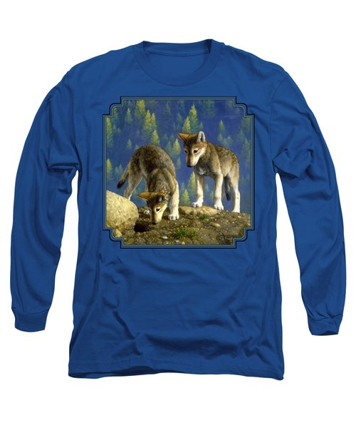 Wolf Pups - Anybody Home Long Sleeve T-Shirt by Crista Forest