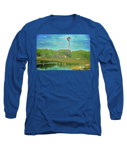 Long Sleeve T-Shirt featuring the photograph Working Windmill  by Ray Shrewsberry