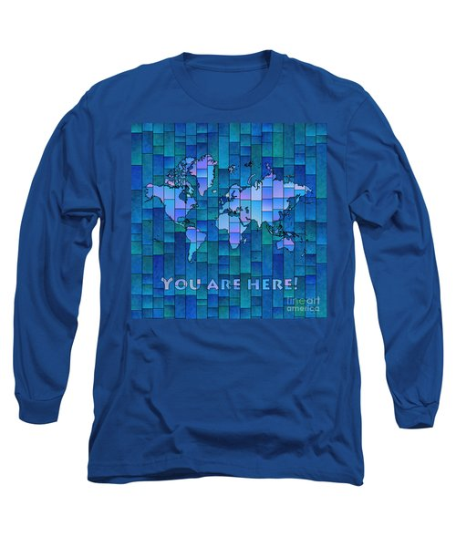 World Map Glasa You Are Here In Blue Long Sleeve T-Shirt by Eleven Corners