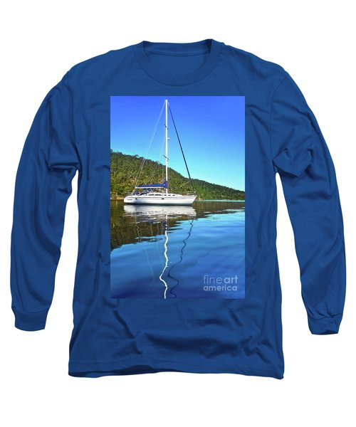 Long Sleeve T-Shirt featuring the photograph Yacht Reflecting By Kaye Menner by Kaye Menner