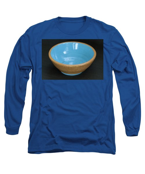 Yellow And Blue Ceramic Bowl Long Sleeve T-Shirt by Suzanne Gaff