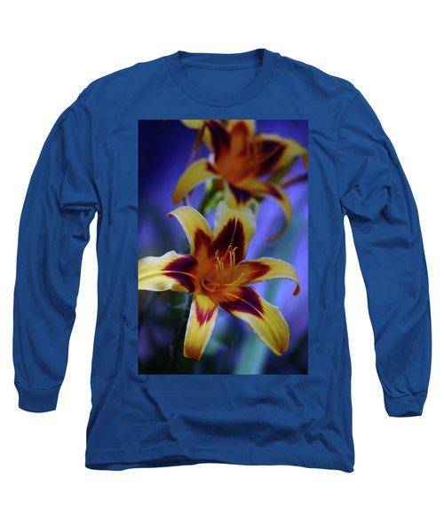 Yellow And Orange And Garnet Daylilies 1270 H_2 Long Sleeve T-Shirt