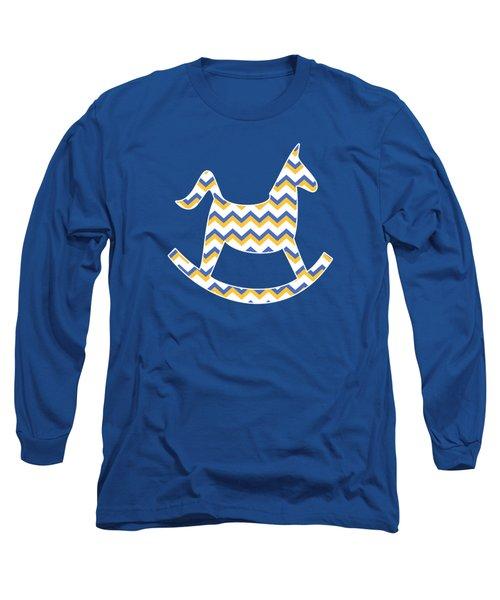 Yellow Blue Chevron Pattern Long Sleeve T-Shirt