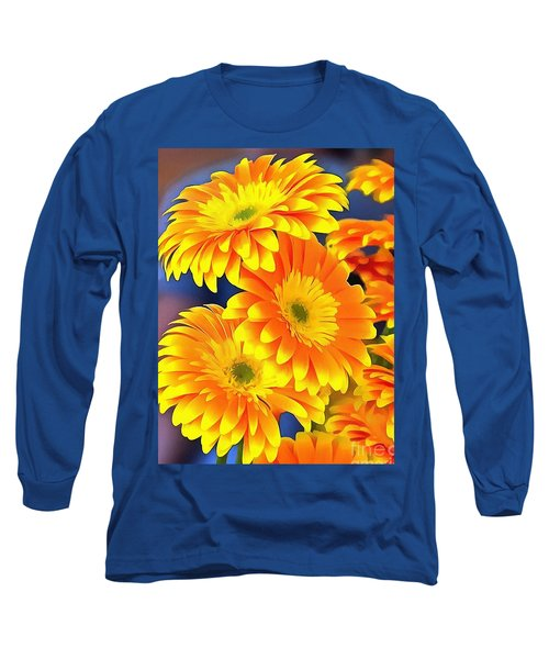 Yellow Flowers In Thick Paint Long Sleeve T-Shirt