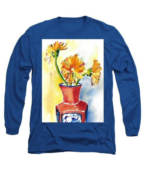 Yellow Gerbera Daisies In A Red And Blue Delft Vase Long Sleeve T-Shirt