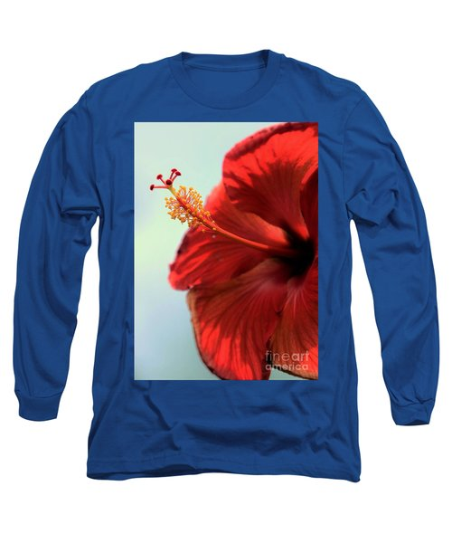 Yellow Red And Coral Hibiscus Profile Long Sleeve T-Shirt