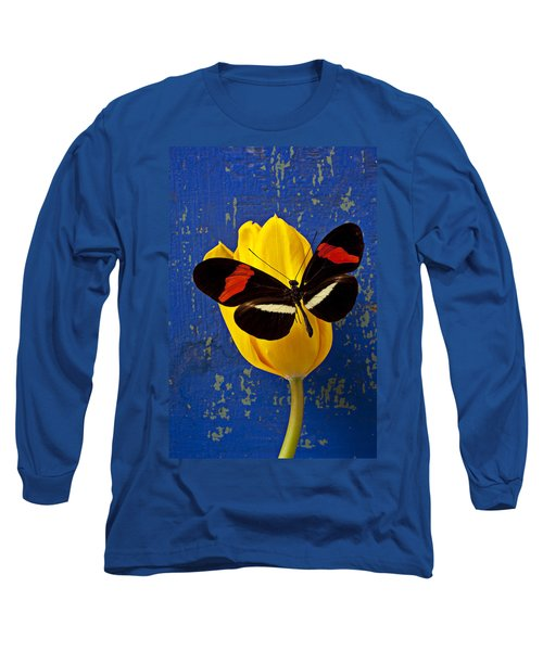 Yellow Tulip With Orange And Black Butterfly Long Sleeve T-Shirt by Garry Gay