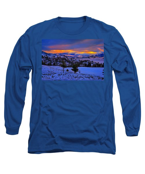 Yellowstone Winter Morning Long Sleeve T-Shirt by Greg Norrell