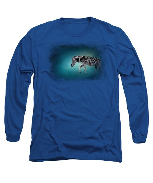Zebra In The Moonlight Long Sleeve T-Shirt by Jai Johnson