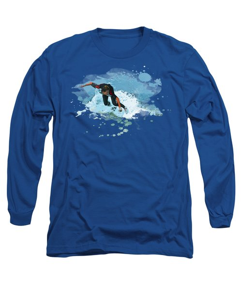 Big Ocean Spray As Surfer Catches A Wave Long Sleeve T-Shirt