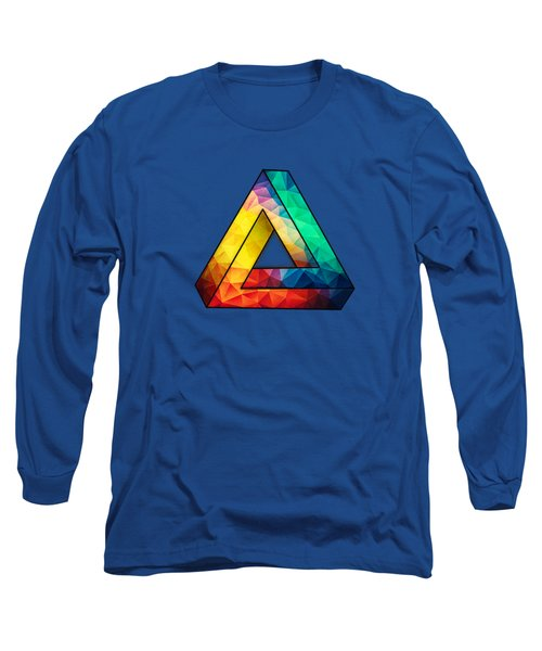 Abstract Polygon Multi Color Cubism Low Poly Triangle Design Long Sleeve T-Shirt