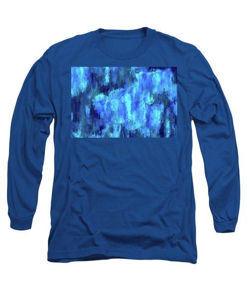 Blue Tulips On A Rainy Day Long Sleeve T-Shirt