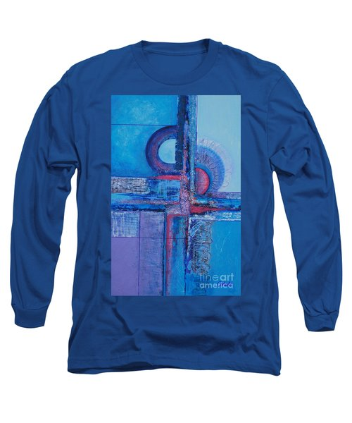 Blues With Purple Abstract Long Sleeve T-Shirt