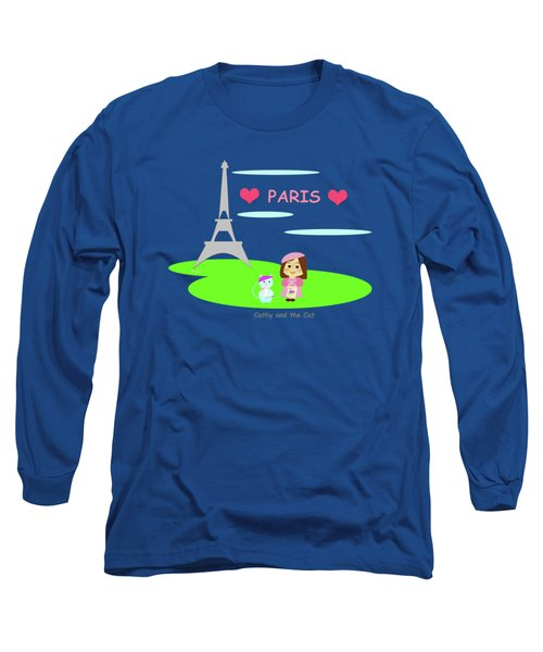 Cathy And The Cat In Paris Long Sleeve T-Shirt