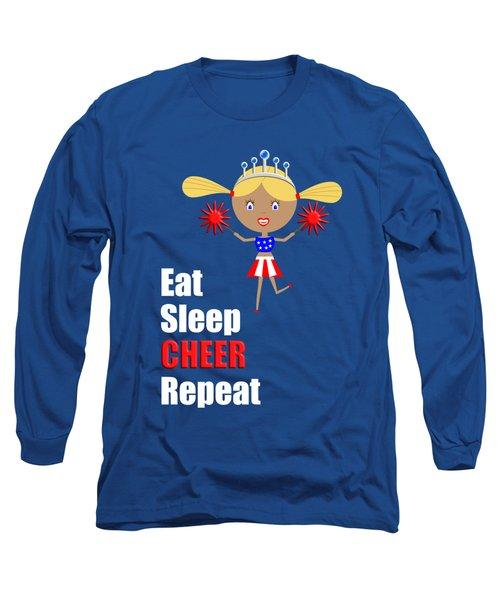 Cheerleader And Pom Poms With Text Eat Sleep Cheer Long Sleeve T-Shirt