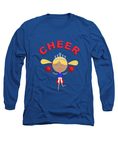 Cheerleader With Pom Poms And Cheer In Arched Text  Long Sleeve T-Shirt
