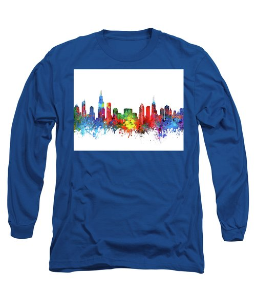Chicago Skyline Watercolor Long Sleeve T-Shirt