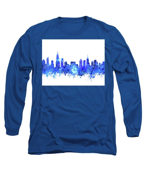 Chicago Skyline Watercolor Blue Long Sleeve T-Shirt