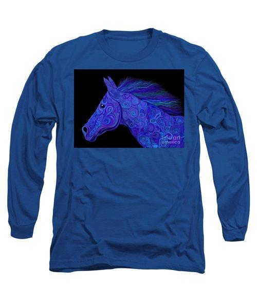Colorful Blue Stallion Long Sleeve T-Shirt