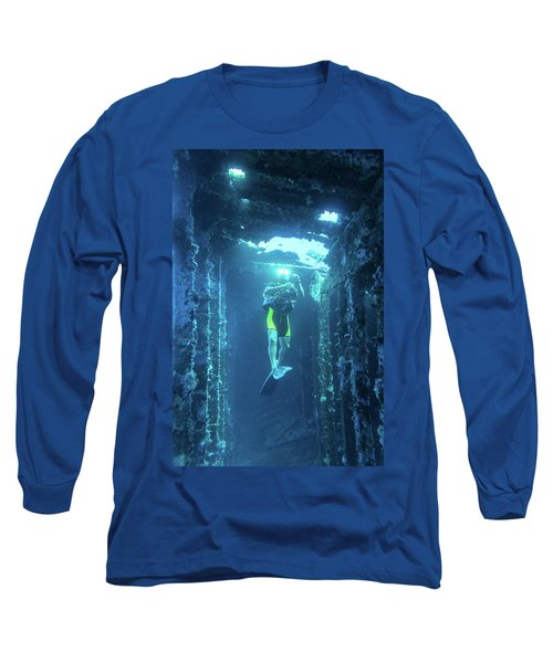 Diver In The Patris Shipwreck Long Sleeve T-Shirt