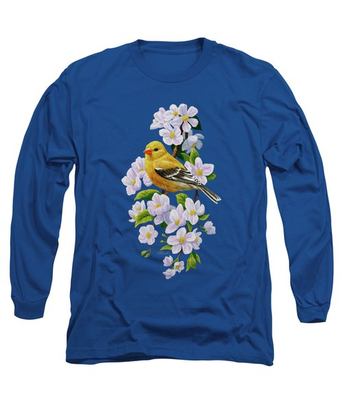 Female American Goldfinch And Apple Blossoms Long Sleeve T-Shirt