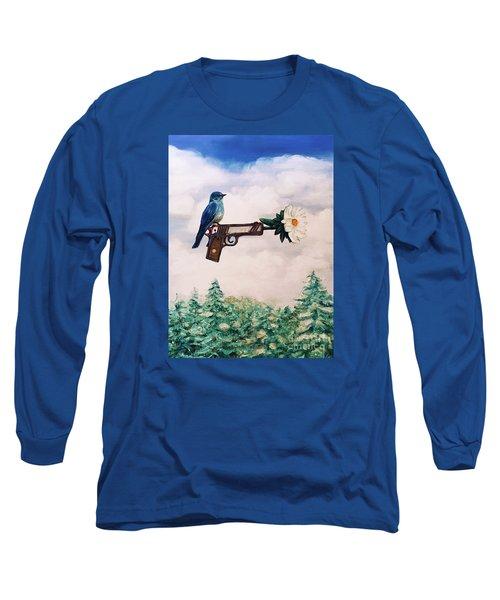 Flower In A Gun- Bluebird Of Happiness Long Sleeve T-Shirt
