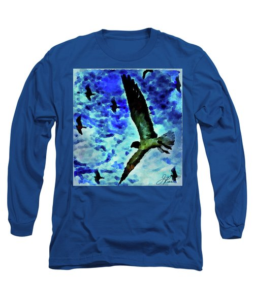 Long Sleeve T-Shirt featuring the painting Flying Seagulls by Joan Reese