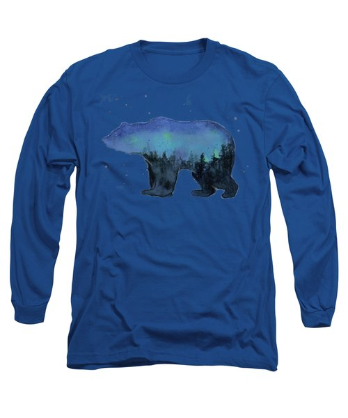 Forest Bear Watercolor Galaxy Long Sleeve T-Shirt