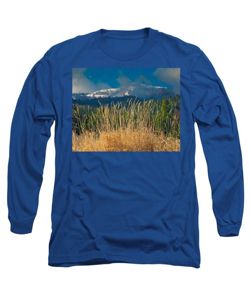 Gold Grass Snowy Peak Long Sleeve T-Shirt