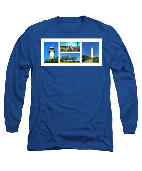 Grand Old Lighthouse Biloxi Ms Collage A1a Long Sleeve T-Shirt