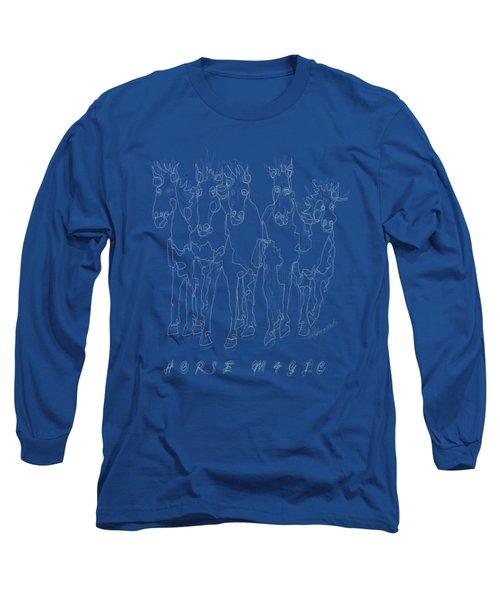Horse Magic Line Drawing Horse Silhouette Design Long Sleeve T-Shirt