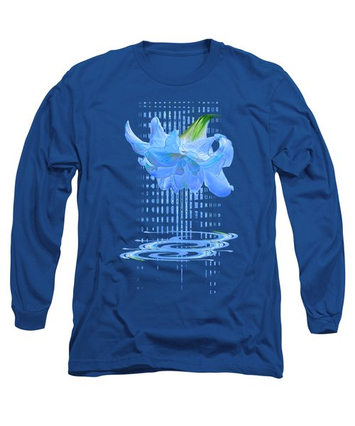 In The Cool Of The Night 3 - Blue Amaryllis Long Sleeve T-Shirt