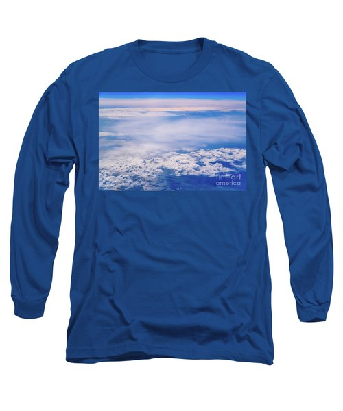 Intense Blue Sky With White Clouds And Plane Crossing It, Seen From Above In Another Plane. Long Sleeve T-Shirt