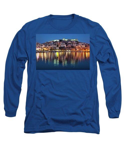 Kavala Town At Night Long Sleeve T-Shirt