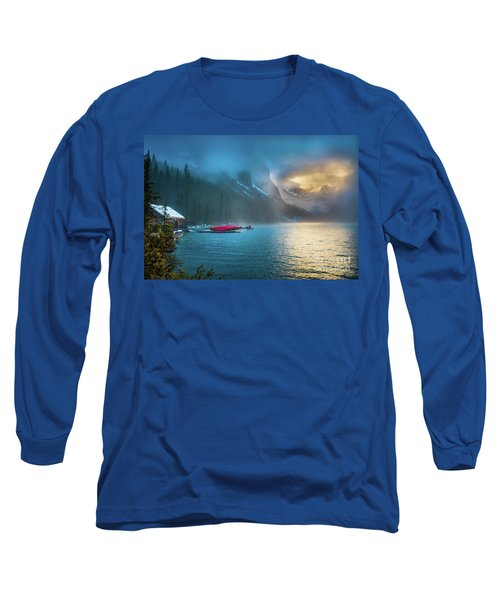 Lake Louise Canoes In The Morning Long Sleeve T-Shirt