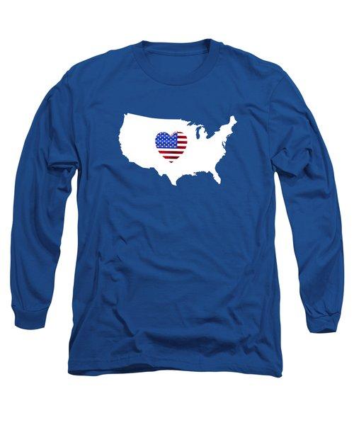 Love America Map Long Sleeve T-Shirt