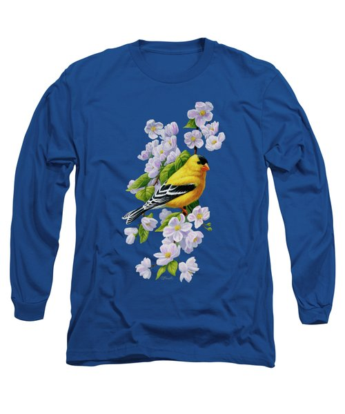 Male American Goldfinch And Apple Blossoms Long Sleeve T-Shirt