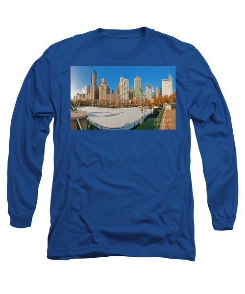 Mccormick Tribune Plaza Ice Rink And Skyline   Long Sleeve T-Shirt