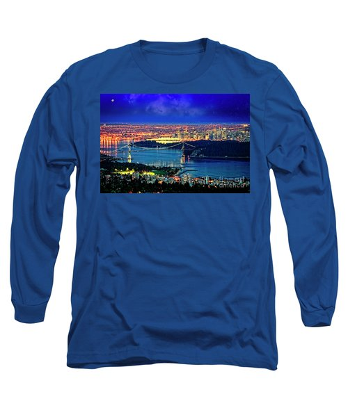 Long Sleeve T-Shirt featuring the photograph Moon Over Vancouver by Scott Kemper