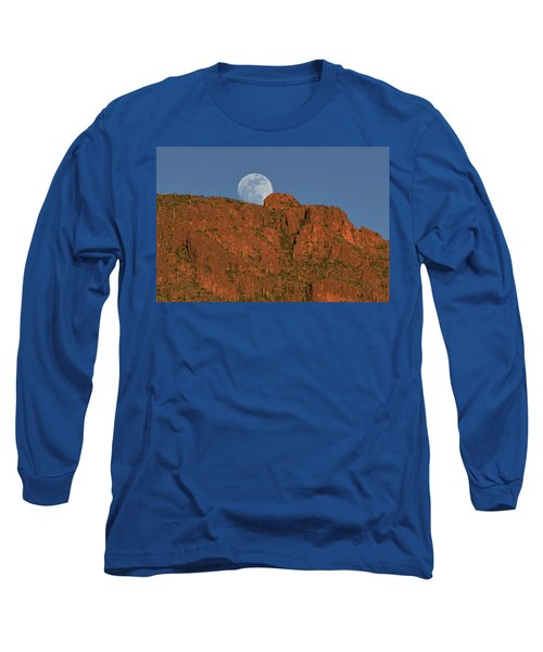 Moonrise Over The Tucson Mountains Long Sleeve T-Shirt